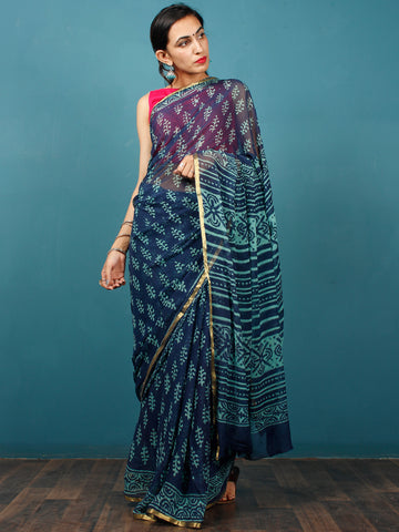 Indigo Blue Hand Block Printed Chiffon Saree with Zari Border - S031702810