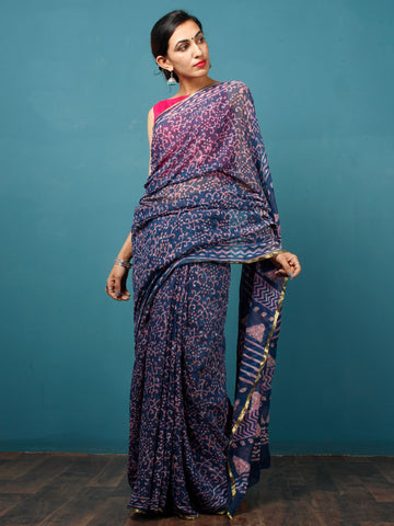 Indigo Purple Hand Block Printed Chiffon Saree with Zari Border - S031702811