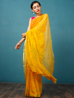 Yellow Green Coral Hand Block Printed Chiffon Saree with Zari Border - S031702812