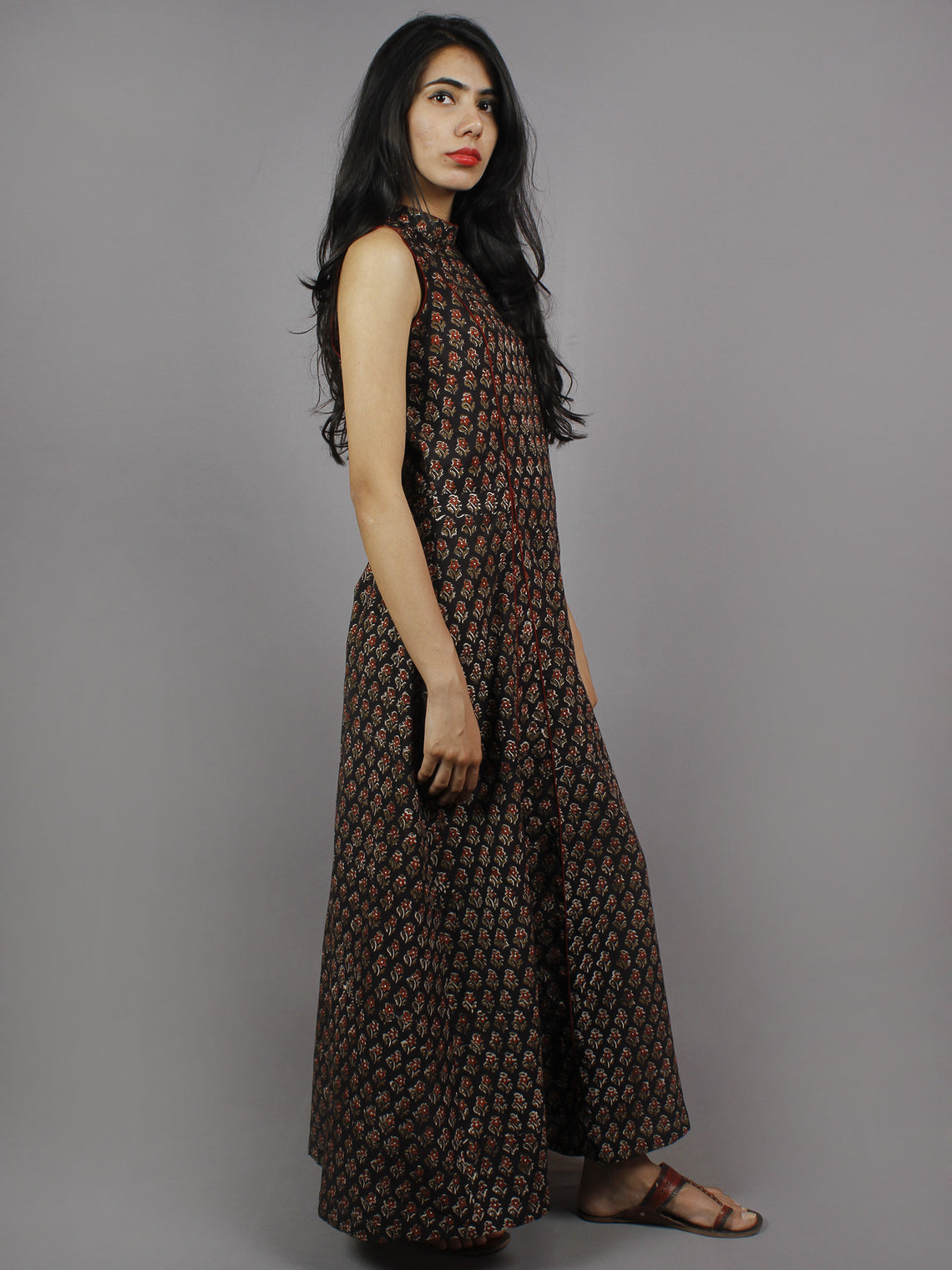 Black Maroon Ivory Hand Block Printed Princess Line Stand Collar Dress - D40F893