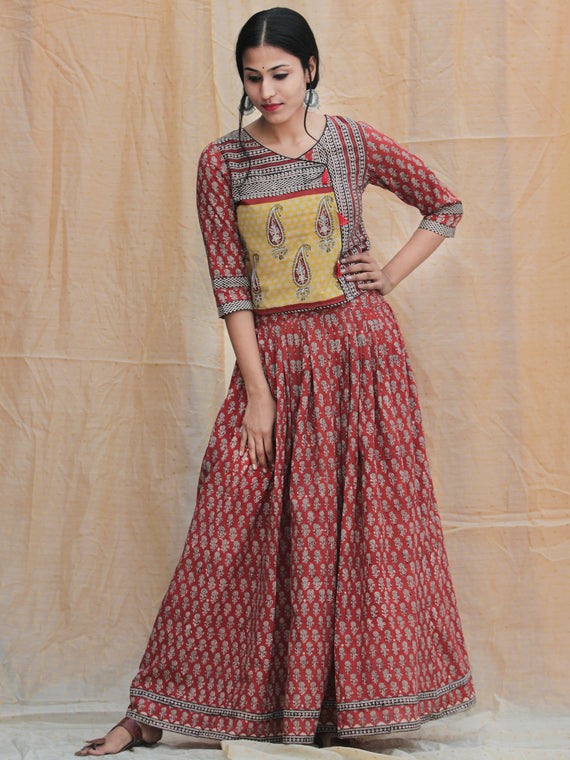 Rustic Roza - Hand Block Printed Long Top And Skirt Dress - DS77F001