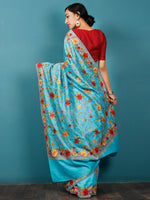 Aqua Blue Maroon Orange Aari Embroidered Bhagalpuri Silk Saree From Kashmir  - S031703057