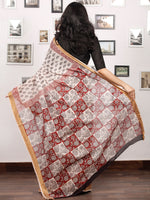 Beige Black Maroon Bagh Printed Maheshwari Cotton Saree - S031703302