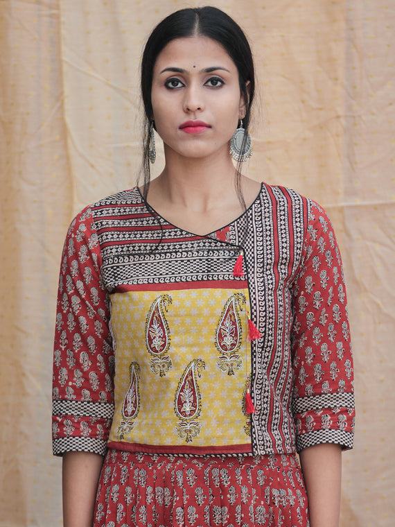 Naaz Rustic Roza - Hand Block Printed Long Top And Skirt Dress - DS77F001