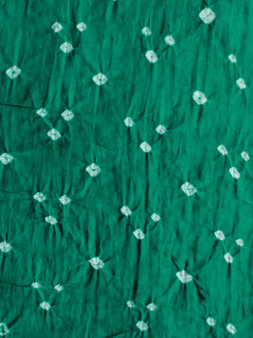 Green White Bandhini Glace Cotton Fabric Per Meter - F006F1852