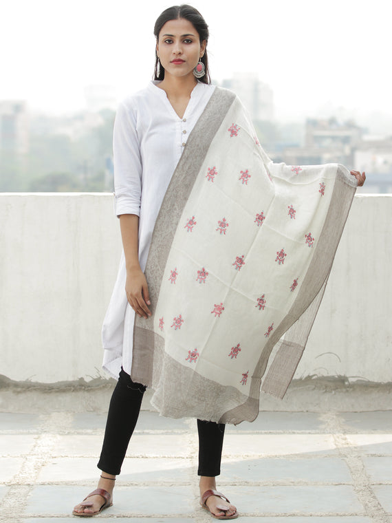 Ivory Pink Beige Needle Embroidered Cashmere Fine Wool Kashmiri Stole - S200602
