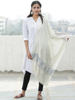 Ivory Blue Needle Embroidered Cashmere Fine Wool Kashmiri Stole - S200601