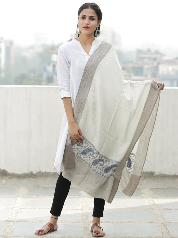 Ivory Blue Grey Needle Embroidered Cashmere Fine Wool Kashmiri Stole - S200604