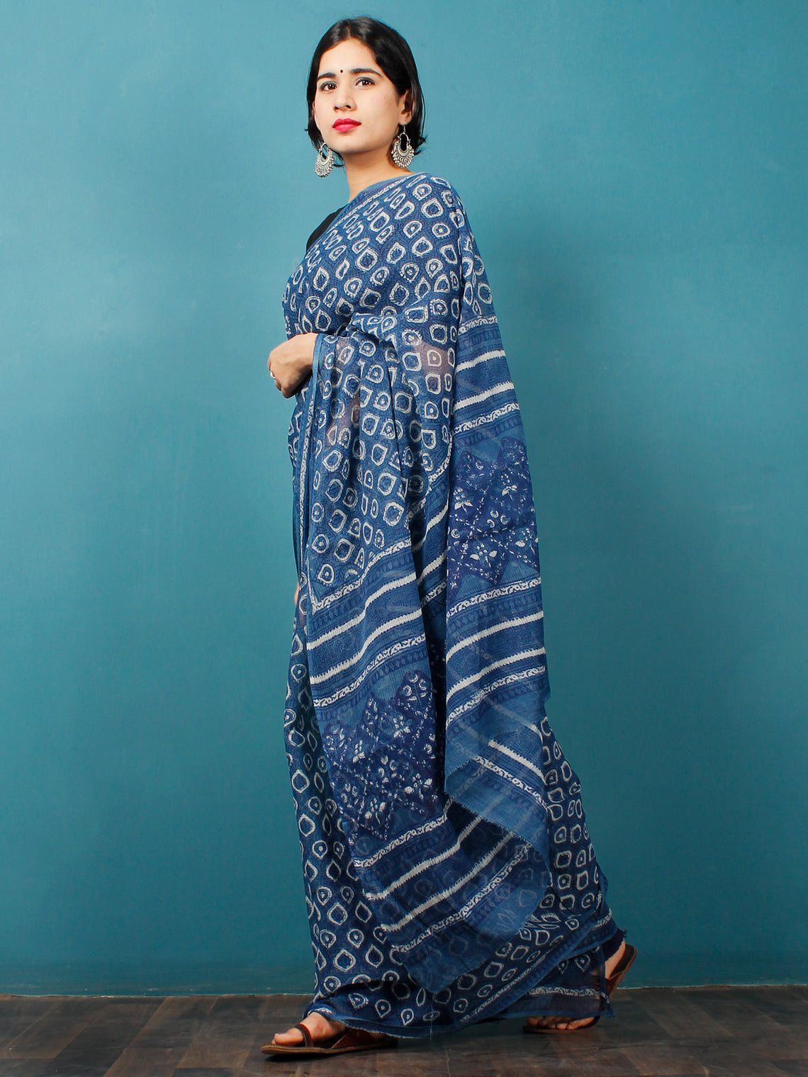 Indigo White Hand Block Printed Kota Doria Saree in Natural Colors - S031702839
