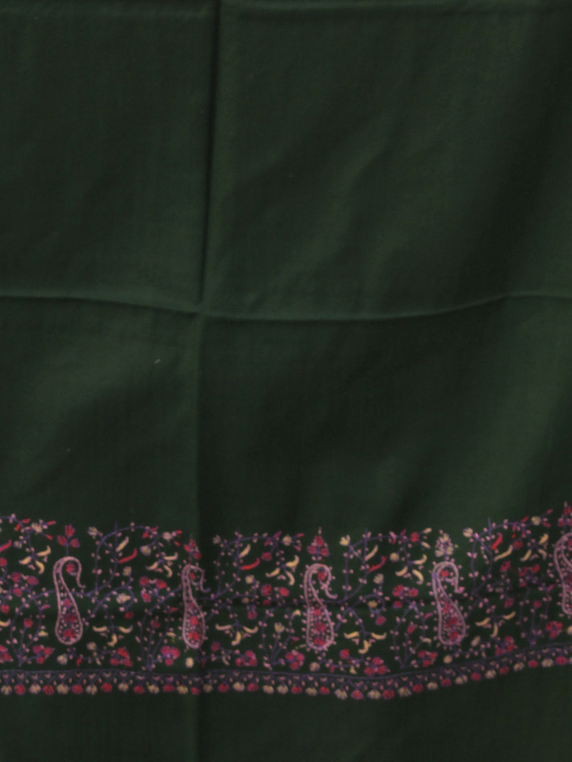 Green Pink Needle Embroidered Cashmere Fine Wool Kashmiri Stole - S200603