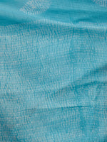 Sky Blue White Hand Shibori Dyed Kota Doria Saree in Natural Colors - S031702843