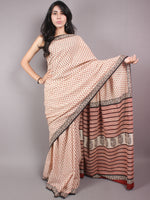 Beige Red Black Hand Block Bagru Printed Saree - S03170354