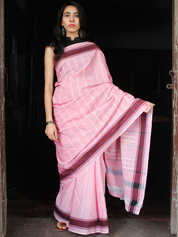 Baby Pink White Maroon Ikat Handwoven Cotton Saree With Ganga Jamuna Border - S031703645
