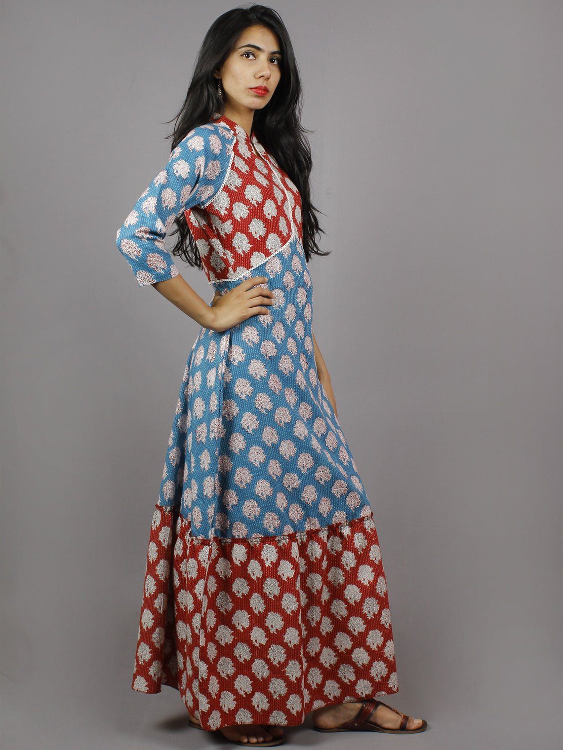 Crimson Red Cerulean Blue White Hand Block Printed Long Cotton Dress With Mandarin Collar - D4256001