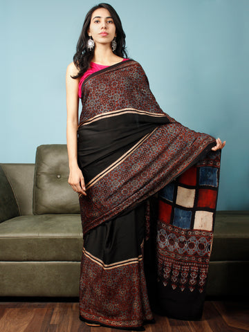 Black Maroon Indigo Beige Ajrakh Hand Block Printed Modal Silk Saree in Natural Colors - S031703344