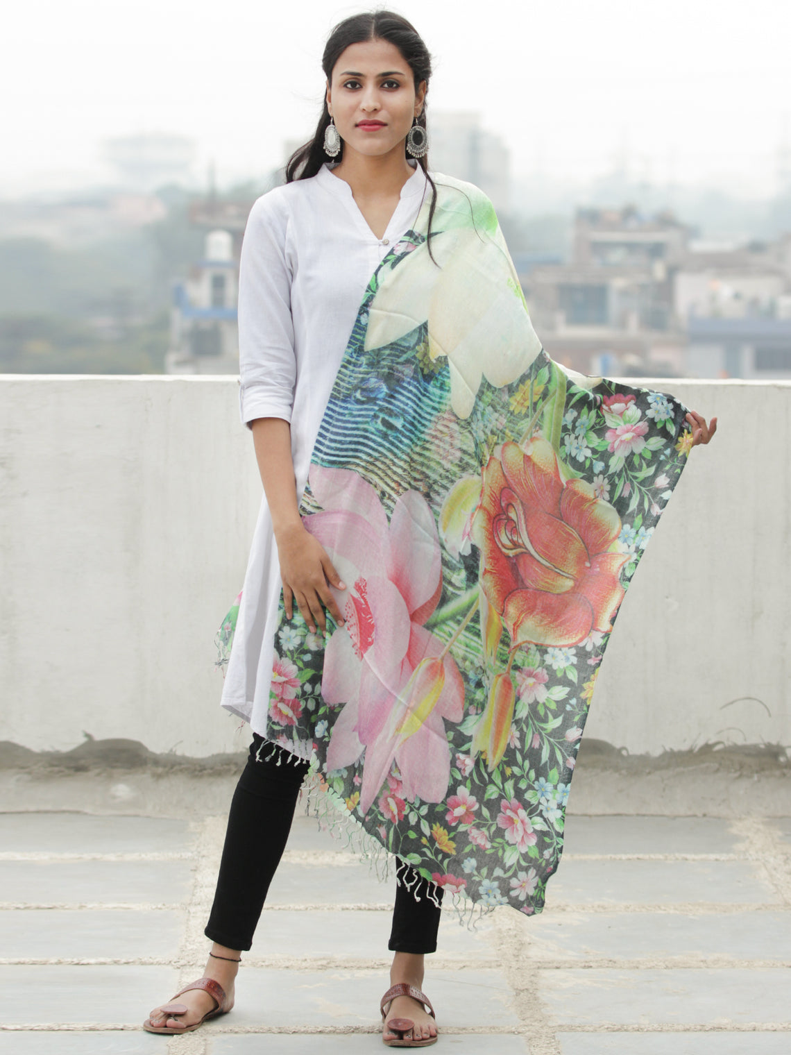 Ivory Multi Color Digital Print Modal Silk Wool Kashmiri Stole - S200613