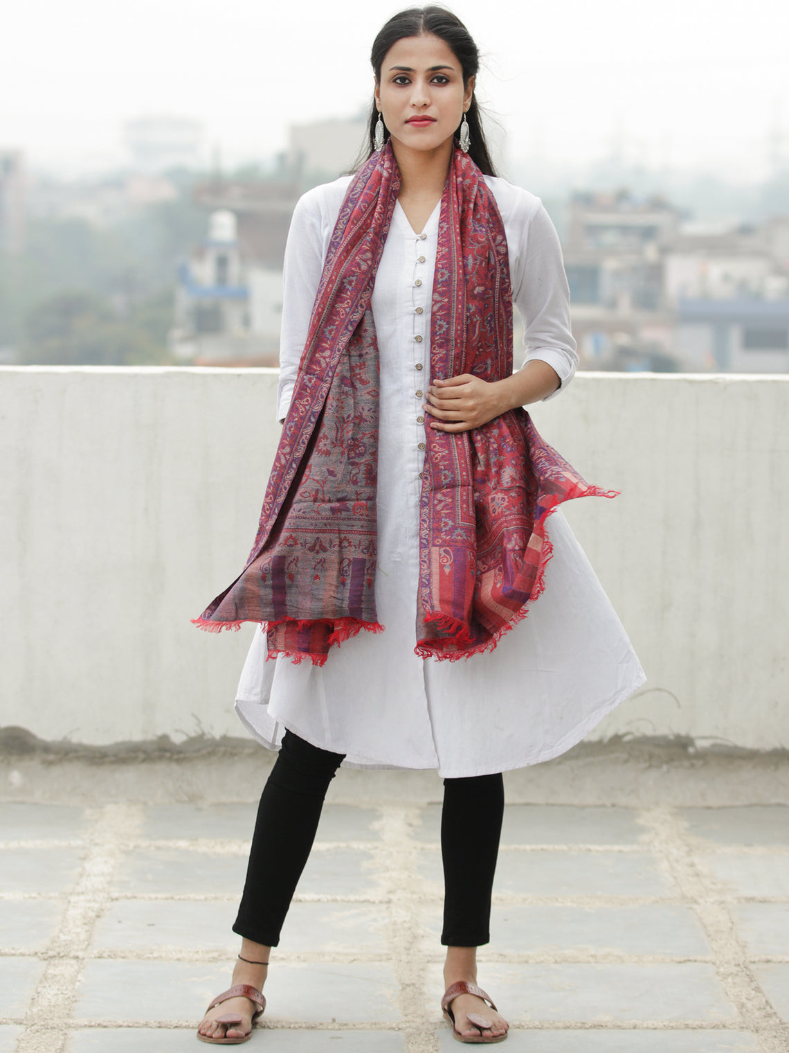 Red Blue Kaani Weaved Modal Silk Wool Kashmiri Stole - S200619
