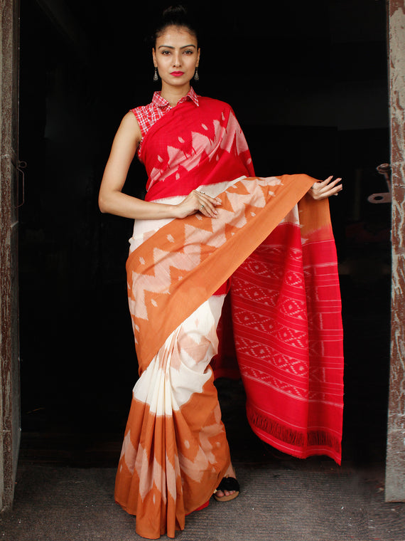 Red White Rust Orange Ikat Handwoven Cotton Saree - S031703646