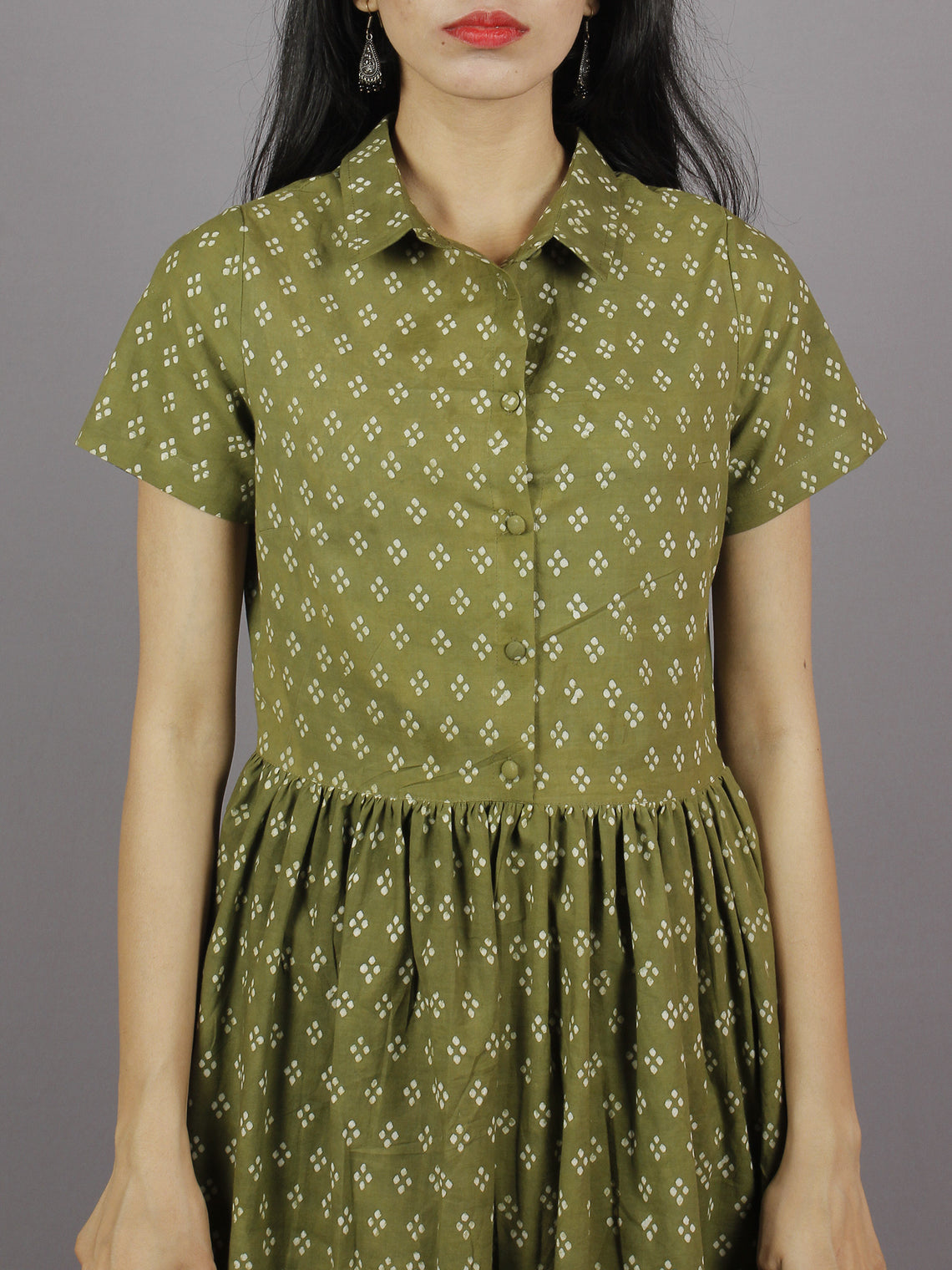 Olive Green Ivory Hand Block Cotton Dress With Gathers And Side Pockets - D4144501