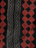 Black Grey Maroon Hand Block Printed Kota Doria Saree in Natural Colors - S031702822
