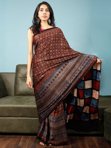 Black Maroon Beige Indigo Ajrakh Hand Block Printed Modal Silk Saree in Natural Colors - S031703346