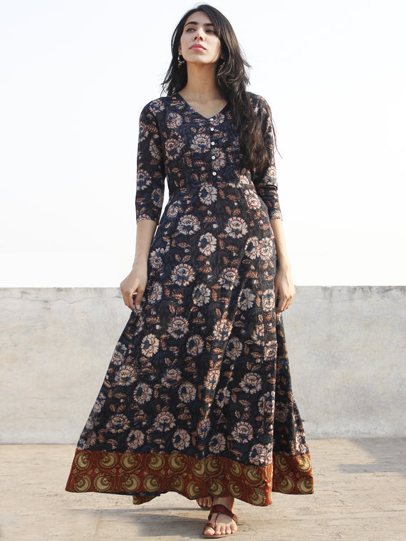 Black Indigo Maroon Rust Olive Beige Hand Block Printed Cotton Long Dress With Tie-Up Back Waist  - D162F1140