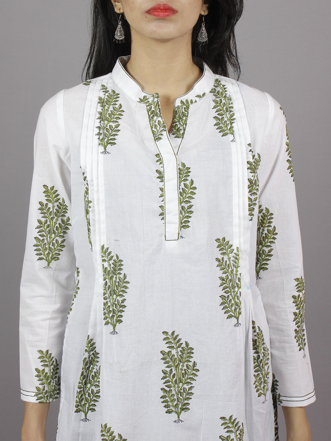White Olive & Parrot Green Hand Block Printed Kurti With Stand Collar And Side Slit - K661901