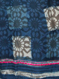 Indigo Grey Purple Ivory Hand Block Printed Cotton Mul Saree With Embroidery & Tassels - S031703114
