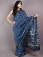 Indigo White Hand Block Printed in Natural Vegetable Colors Chanderi Saree With Geecha Border - S03170290