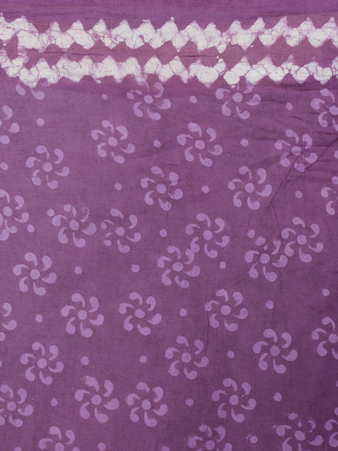 Purple White Hand Block Printed in Natural Colors Cotton Mul Saree - S03170419