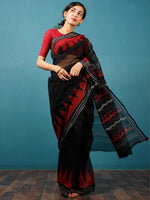 Black Red Grey Hand Block Printed Kota Doria Saree in Natural Colors - S031702824
