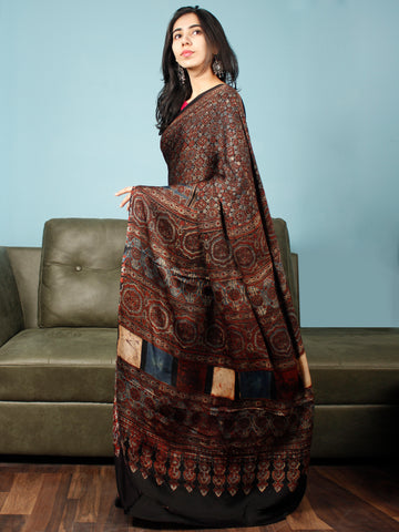 Black Maroon Beige Indigo Ajrakh Hand Block Printed Modal Silk Saree in Natural Colors - S031703347
