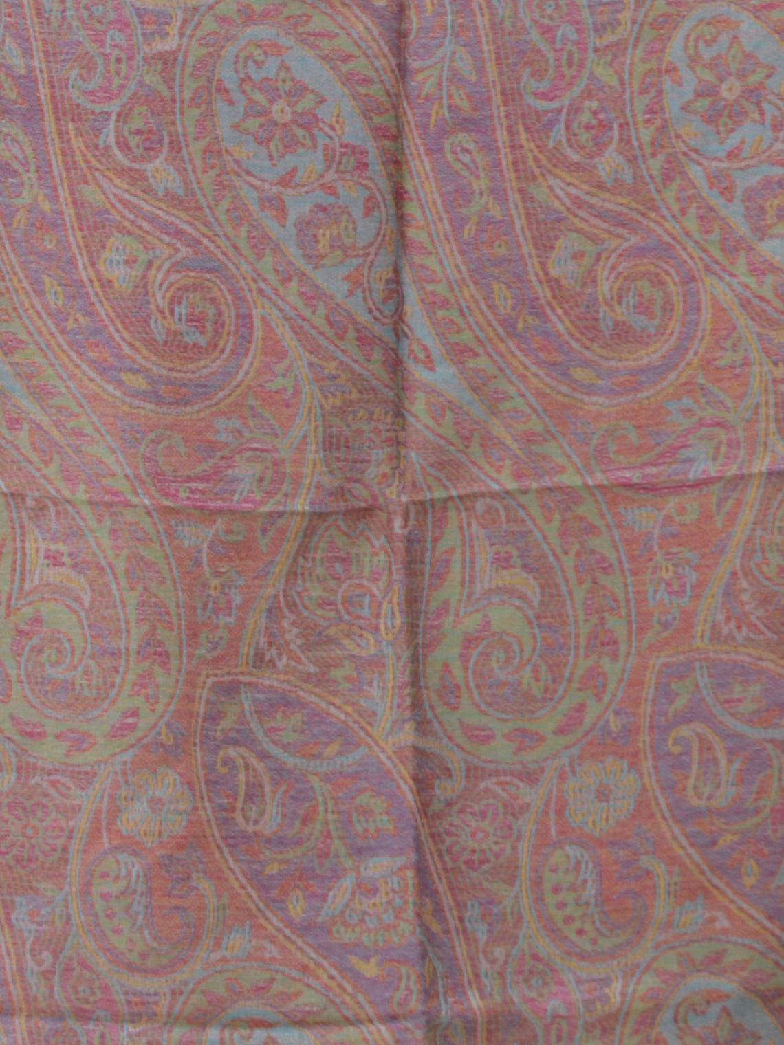 Coral Green Sky Blue Pure Cashmere Wool Jamavar Stole - S200555