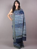 Indigo White Hand Block Printed in Natural Vegetable Colors Chanderi Saree With Geecha Border - S03170292