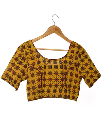 Mustard Maroon Green Ajrakh Hand Block Printed Cotton Princess Cut Blouse - B01F1584