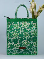 Green White Hand Block Printed Tote Bag - B0301