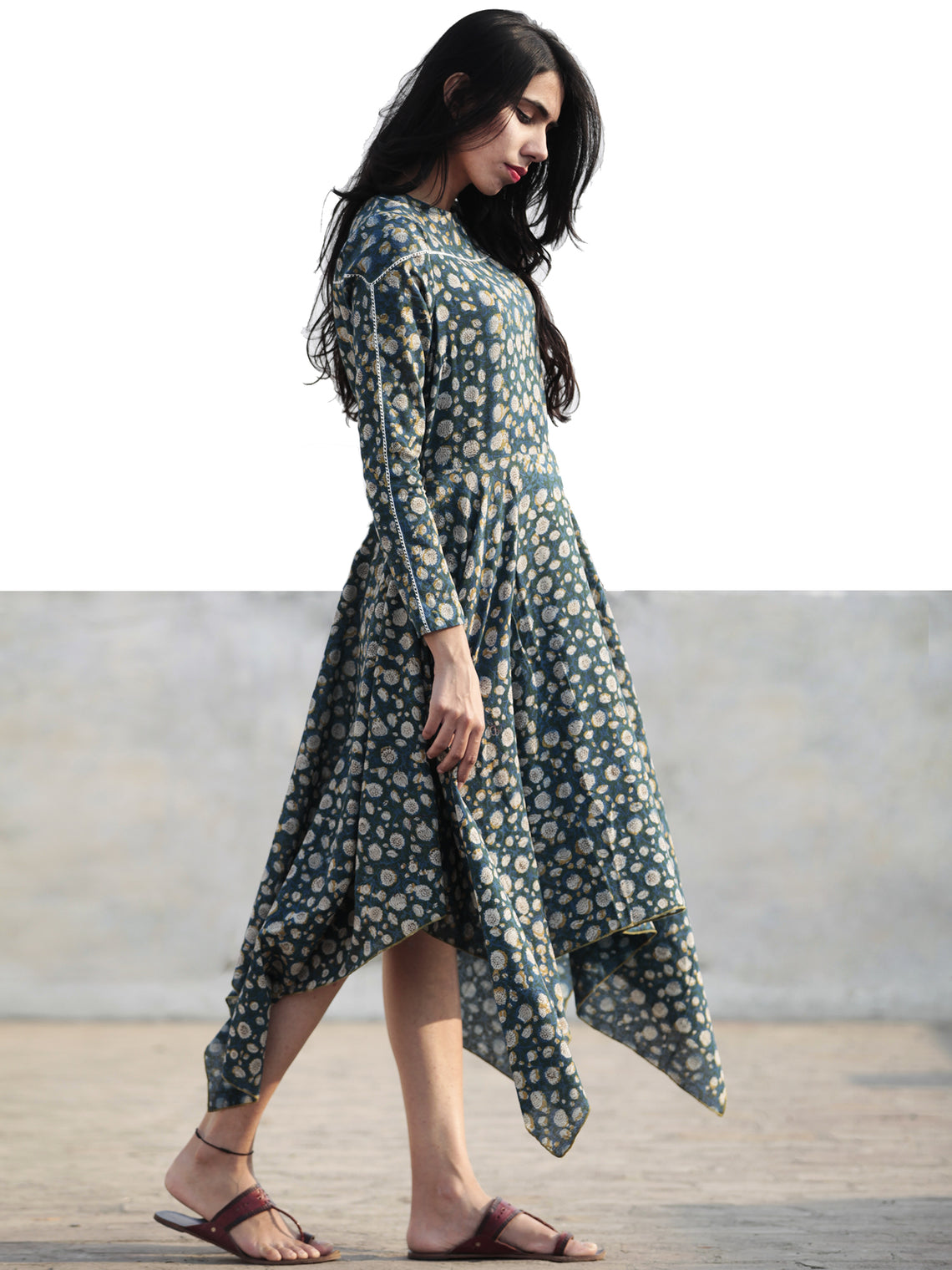 Green Blue Mustard Ivory Hand Block Cotton Asymmetrical Dress With Lace Details  - D218F886