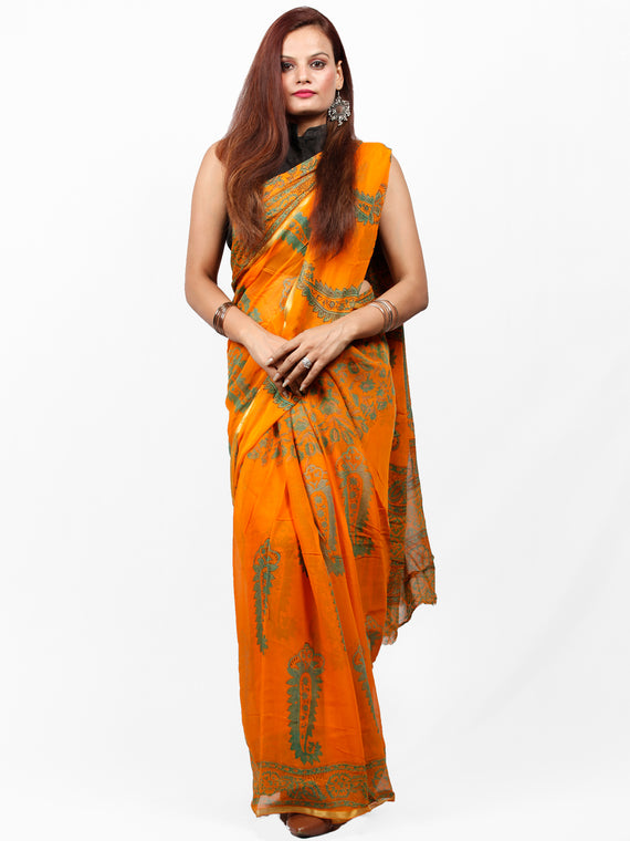 Orange Green Hand Block Printed Chiffon Saree with Zari Border - S031703422
