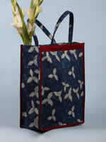 Indigo White Hand Block Printed Tote Bag - B0302