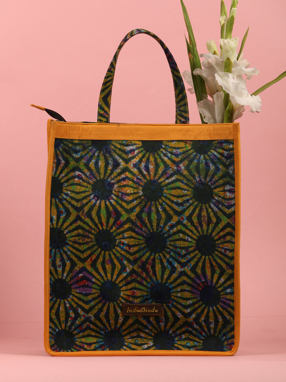 MultiColour Hand Block Printed Tote Bag - B0305