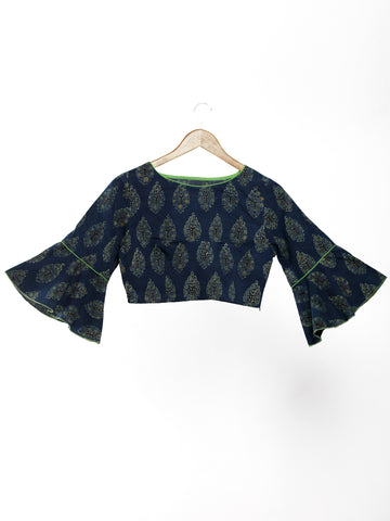Indigo Green Black Ajrakh Hand Block Printed Cotton Boat Neck Blouse With Bell Sleeves- B02F1516