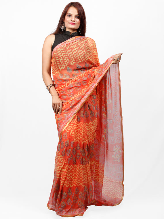 Coral Yellow Grey Hand Block Printed Chiffon Saree with Zari Border - S031703437