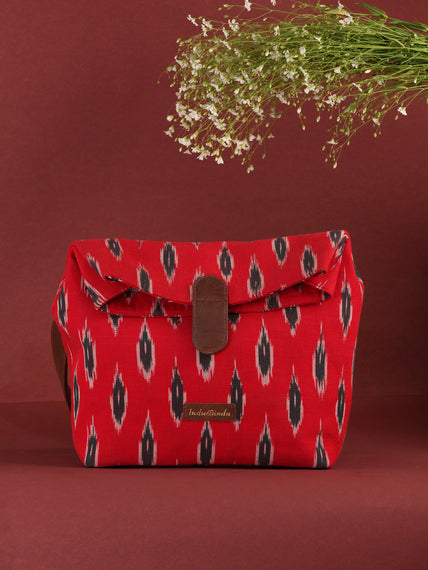 Red Black Fold Over Ikat Hand Bag - B0503