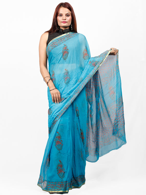 Sky Blue Coral Hand Block Printed Chiffon Saree with Zari Border - S031703434