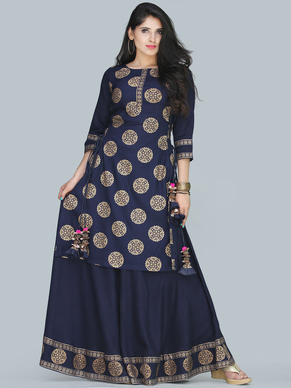 Naaz Aalia - Indigo Gold Block Print Kurta & Skirt Dress With Tassels - D380FXXXX