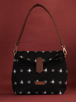 Black White Fold Over Ikat Hand Bag - B0504