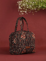 Brown Red Hand Block Printed Bucket Style Hand Bag - B0703