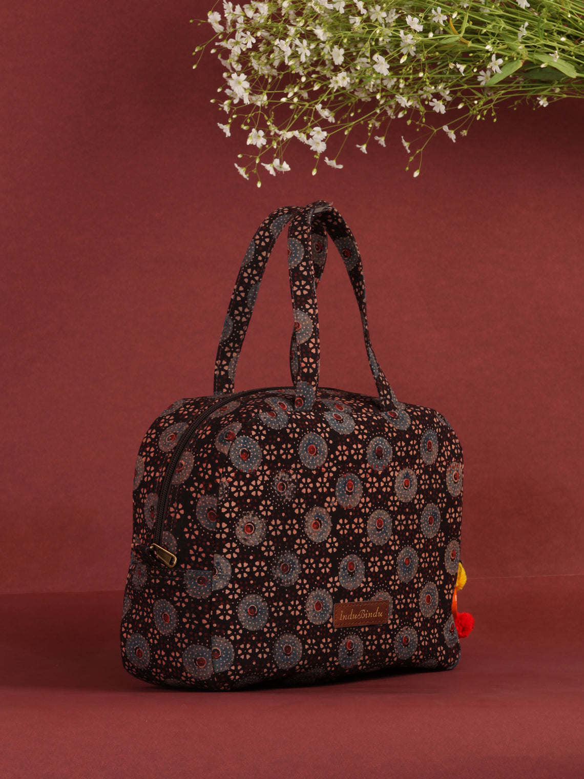 Brown Ajrakh Hand Block Printed Bucket Style Hand Bag - B0705