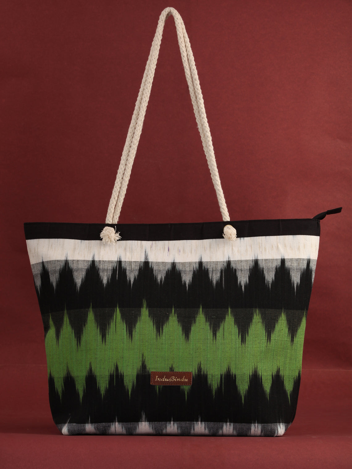 Green Off White Ikat Tote Bag - B0801