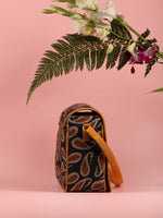Black Mustard Hand Block Printed Sling Bag - B0104